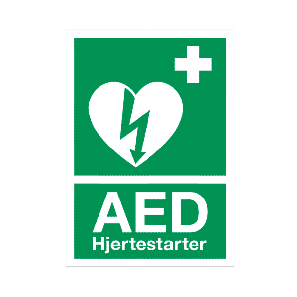 AED skilt, efterlysende, A4
