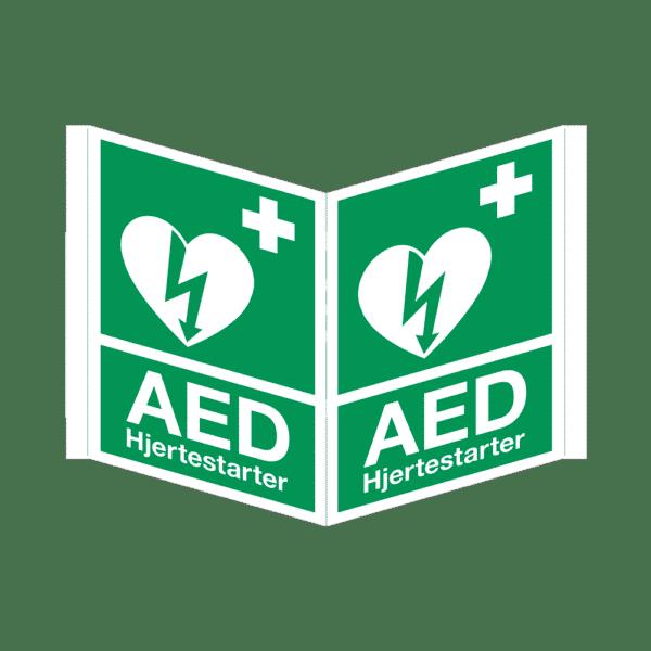 AED skilt, trekantet, efterlysende