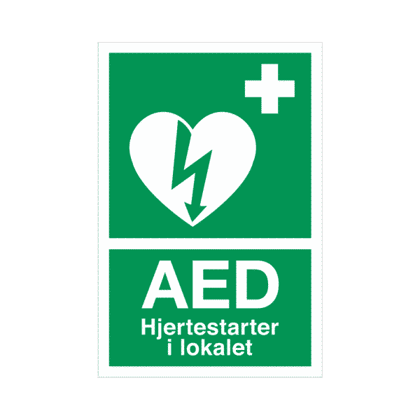 3206-DK AED label/klistermærke, 6 x 9 cm - Hjertestarter i lokalet