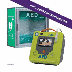 ZOLL AED 3 hjertestarter + CA HSS100 hjertestarterskab + 4-timers førstehjælpskursus