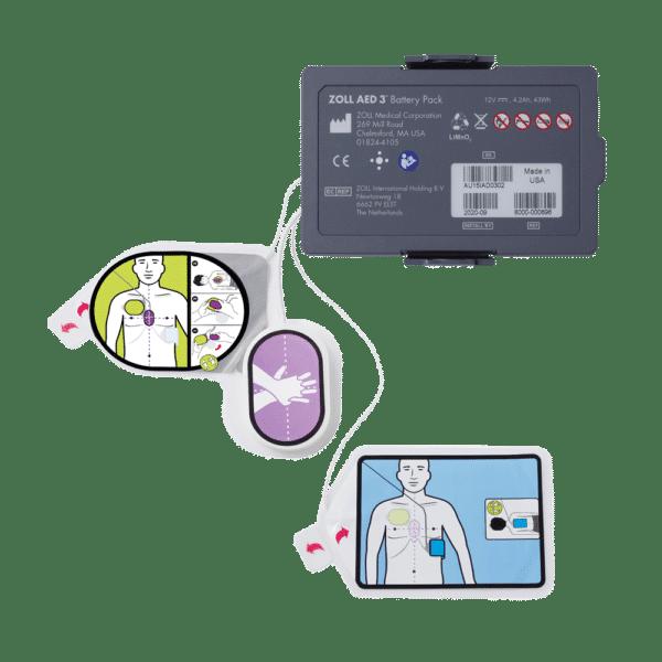 Pakketilbud: Batteri og CPR Uni-Padz eletrode til AED 3 hjertestarter